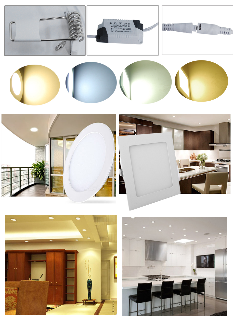 10pcs Led Recessed Ceiling Panel Light Fixture White Downlight Round Square Ebay