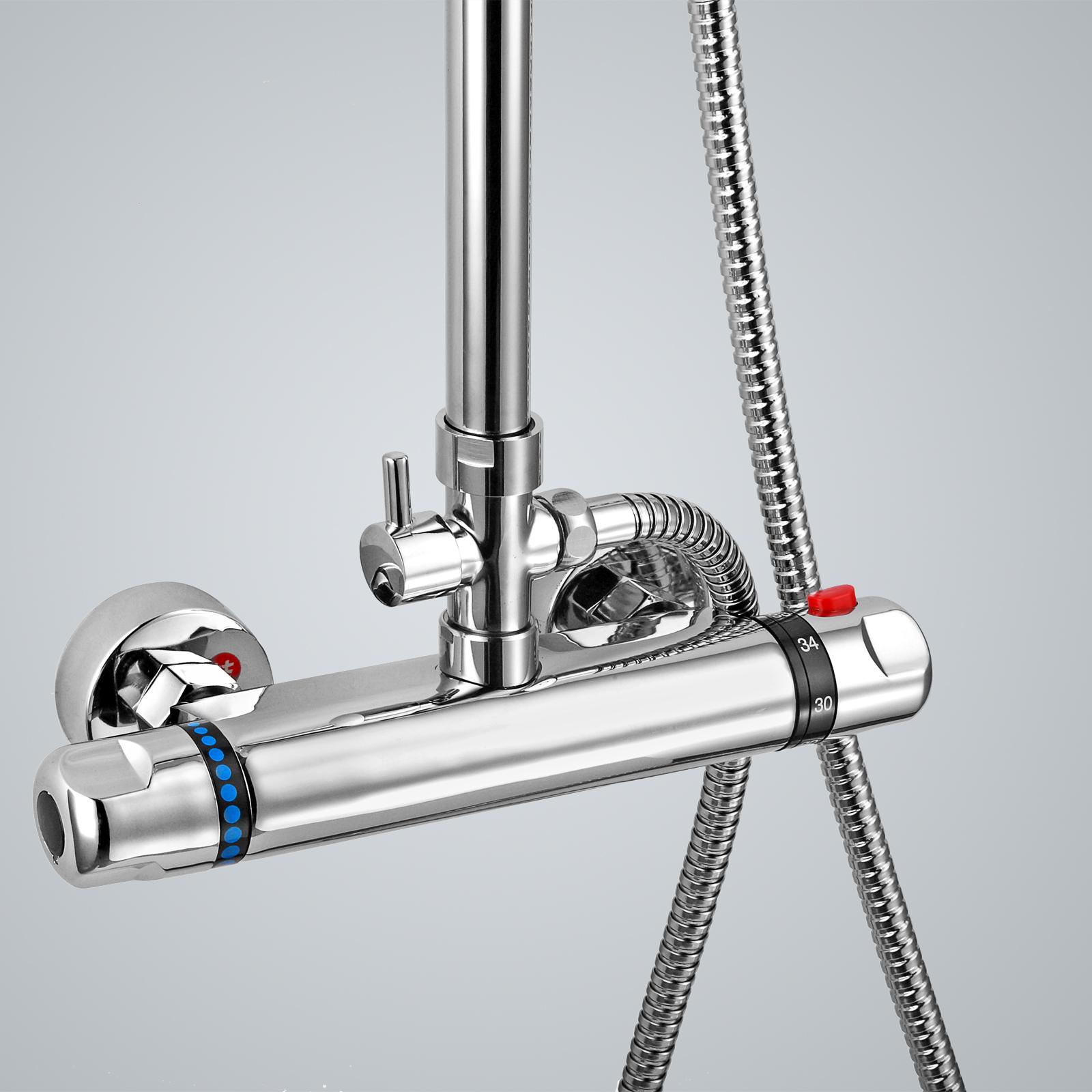 bathroom chrome thermostatic shower mixer bar valve tap riser kit twin. Black Bedroom Furniture Sets. Home Design Ideas
